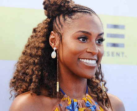 Issa rae half curly half braided hair