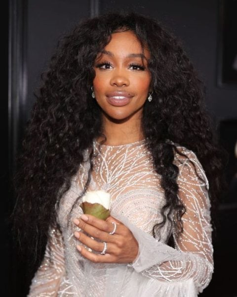 sza hair- curly hair look